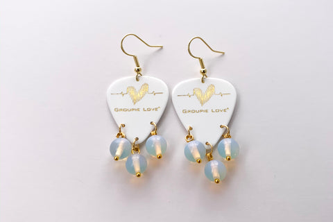 Groupie Love White Gold Opal Earrings