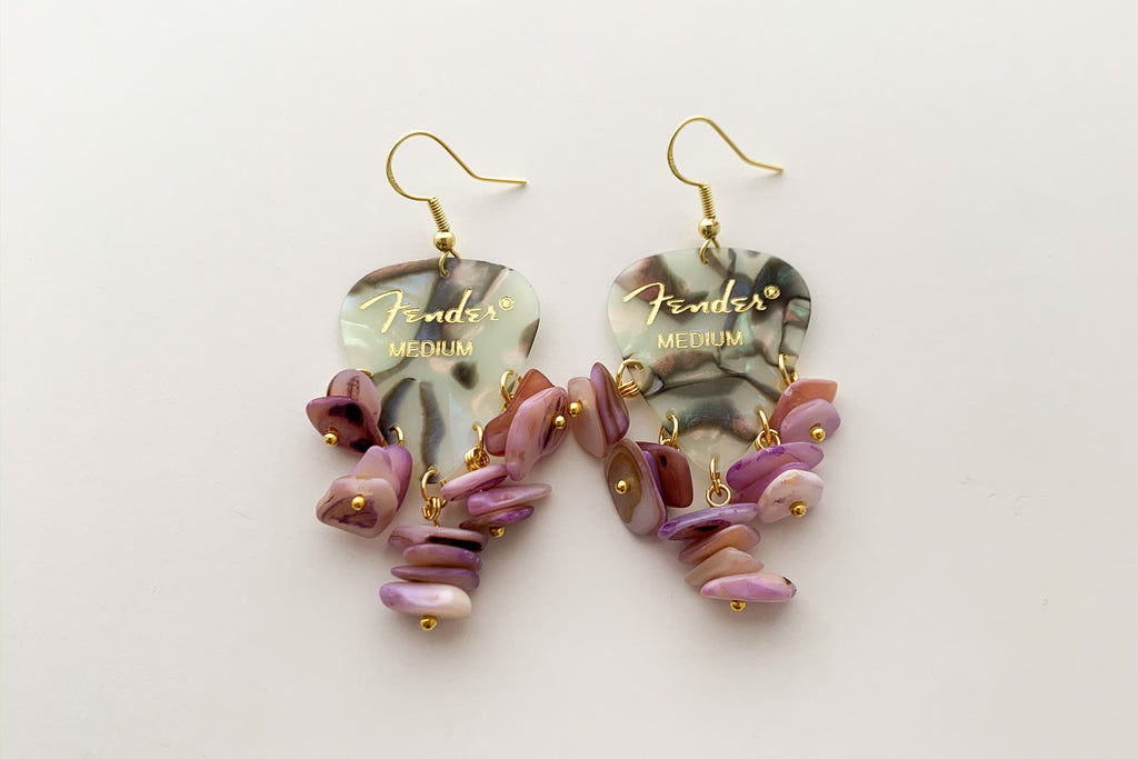 Fender Abalone Mother of Pearl Purple Chip Earrings