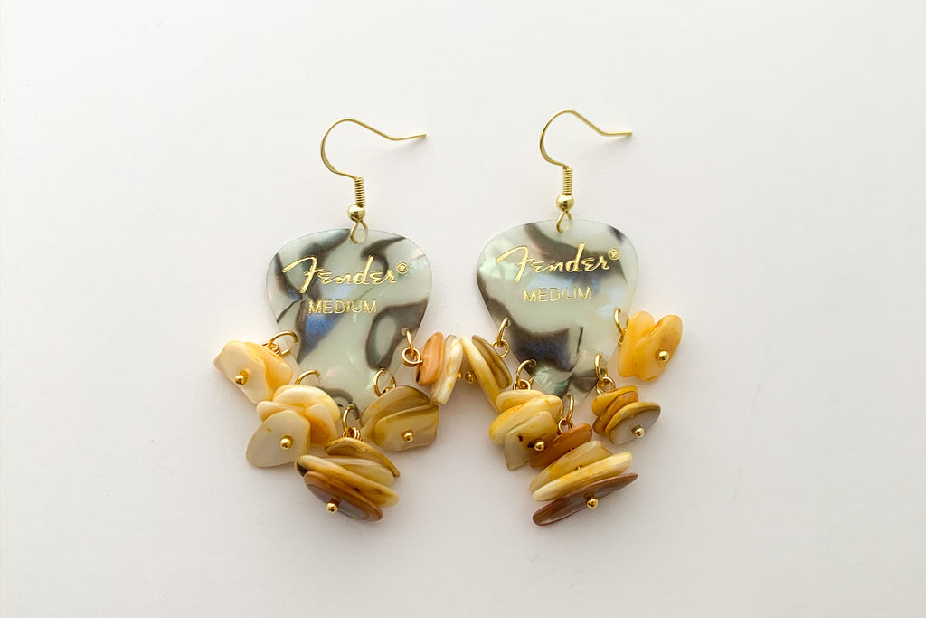 Fender Abalone Mother of Pearl Yellow Chip Earrings
