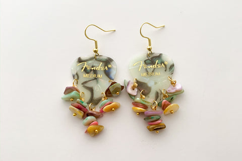 Fender Abalone Mother of Pearl Colorful Chip Earrings