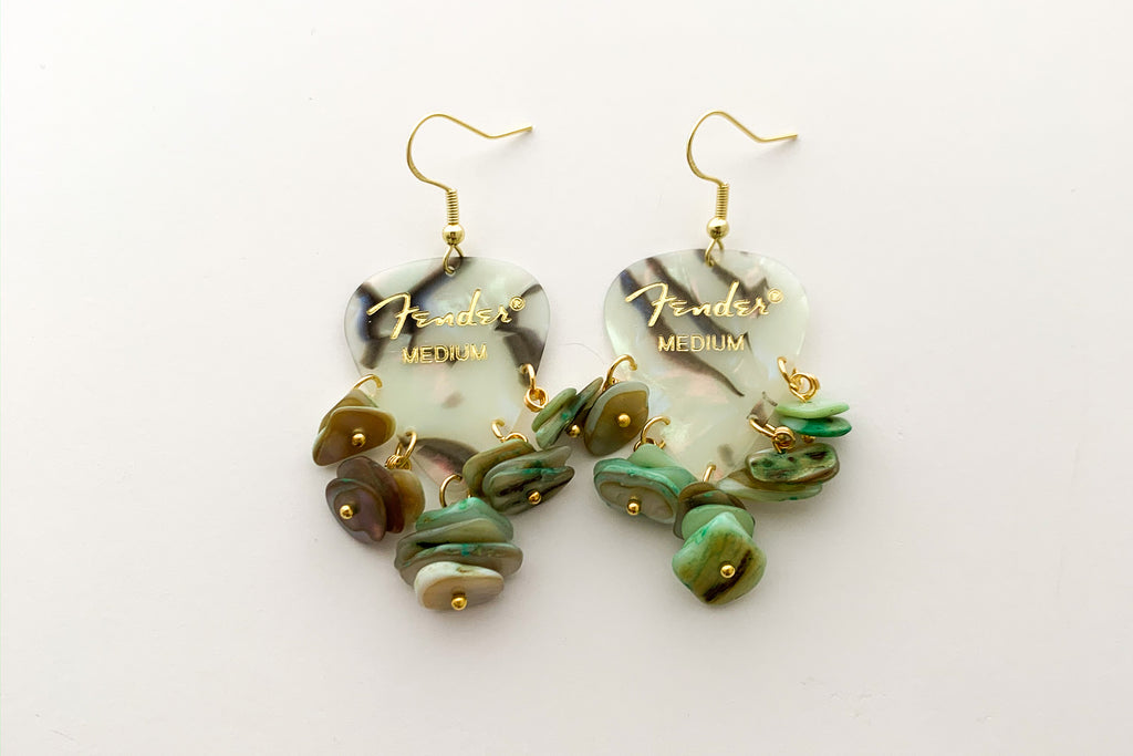 Fender Abalone Mother of Pearl Green Chip Earrings