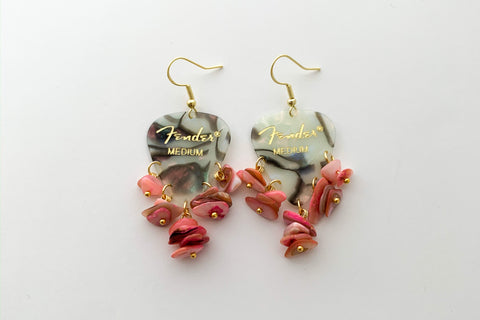 Fender Abalone Mother of Pearl Pink Chip Earrings