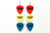 Groupie Vibes Red Yellow Blue Triple Earrings Wholesale