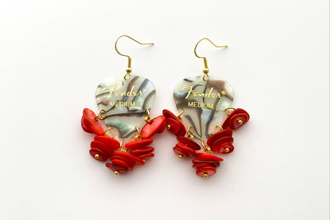 Fender Abalone Mother of Pearl Red Chip Earrings