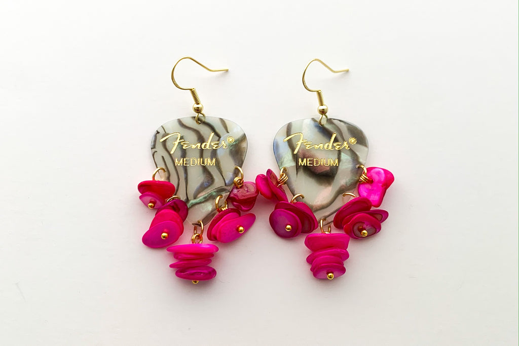 Fender Abalone Mother of Pearl Hot Pink Chip Earrings