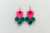 Groupie Love Pink Turquoise Peace Guitar Pick Earrings