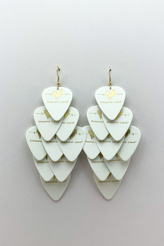 Groupie Love White Gold Major Guitar Pick Earrings