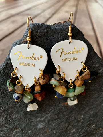 Fender White Natural Chip Earrings