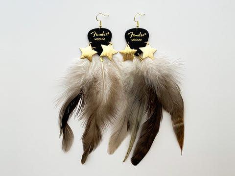 Fender Black Gold Star Feather Earrings