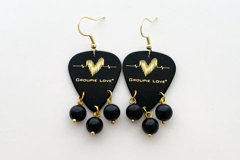 Groupie Love Black Gold Black Jade Earrings