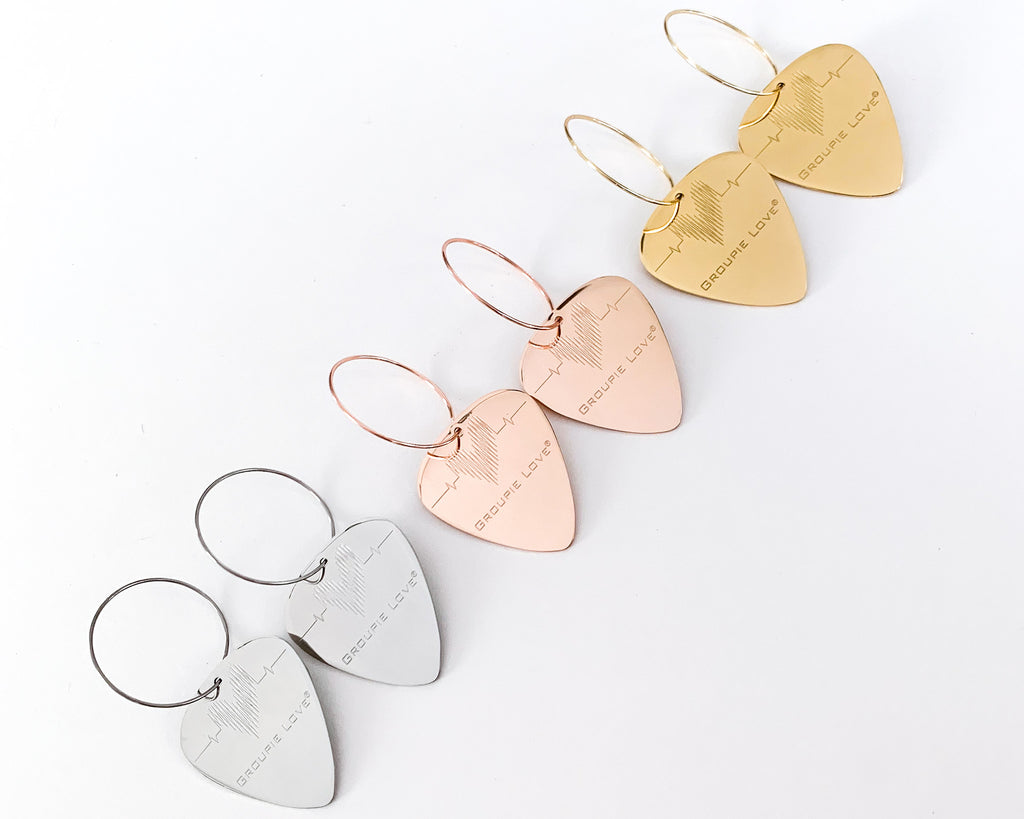 Groupie Love Steel, Rose Gold, Gold Single Guitar Pick Earrings