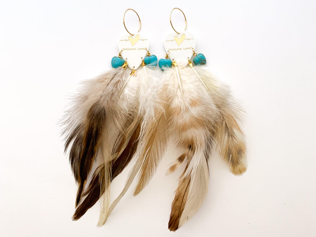 Groupie Love White Gold Turquoise Hearts Feather Guitar Pick Earrings