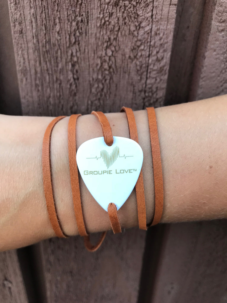 Groupie Love White & Gold Brown Leather Band