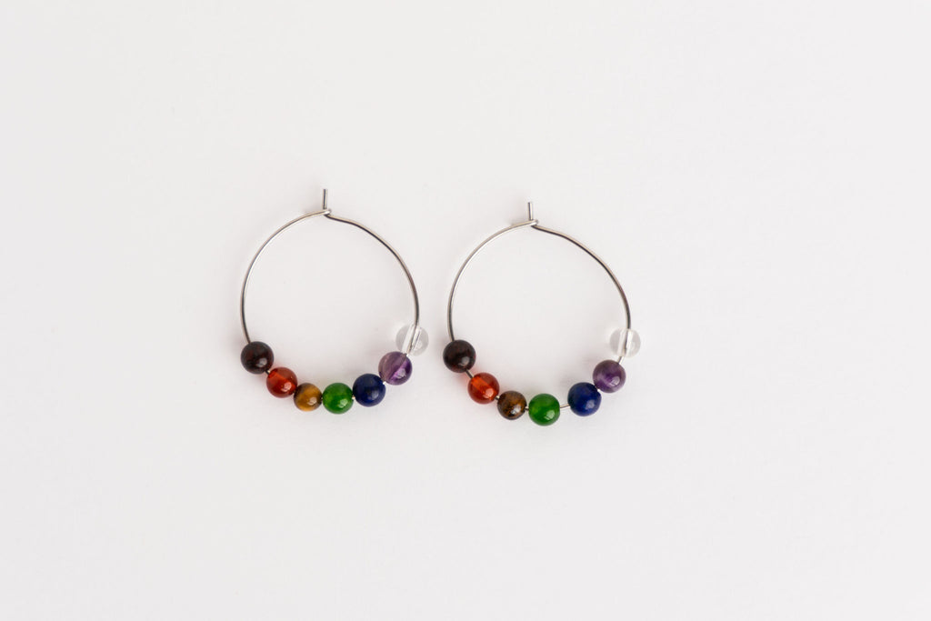 Chakra Soundwave Silver Single Earrings