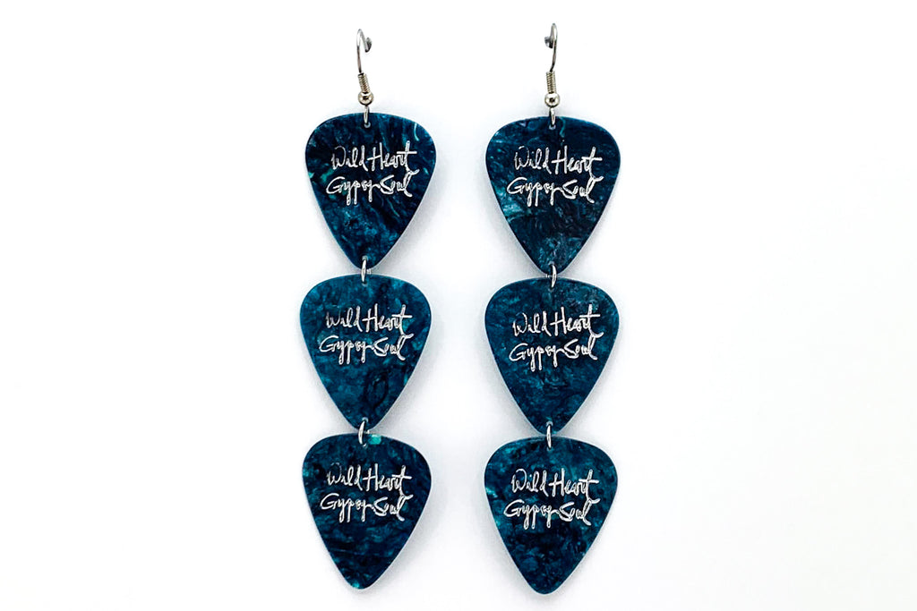 Wild Heart Gypsy Soul Turquoise Silver Triple Guitar Pick Earrings