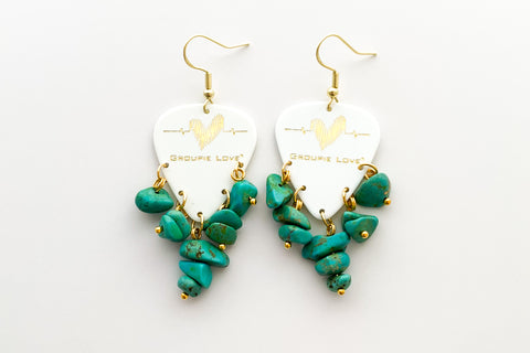 Groupie Love White Gold Turquoise Earrings