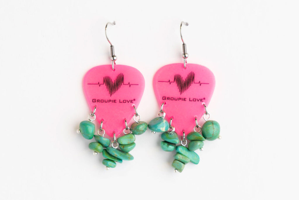 Groupie Love Pink Turquoise Earrings
