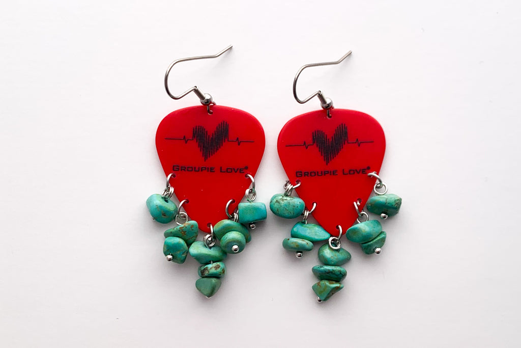 Groupie Love Red Turquoise Guitar Pick Earrings