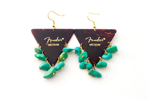 Fender Tortoise Triangle Turquoise Earrings