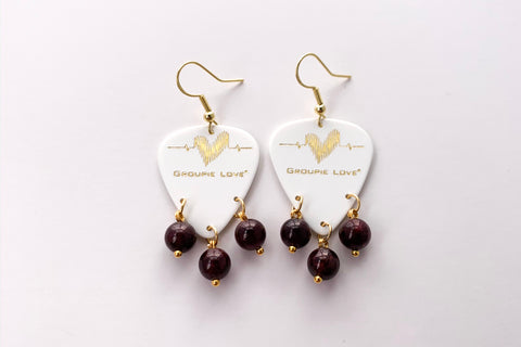 Groupie Love White Gold Garnet Earrings