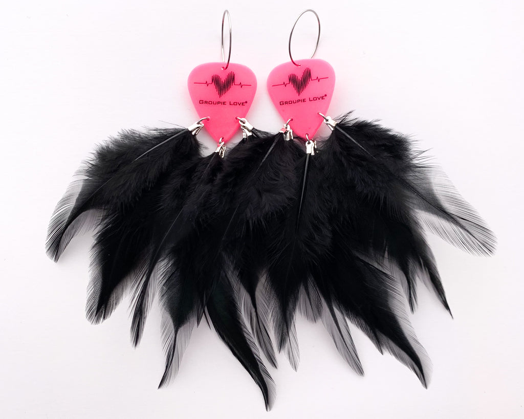 Groupie Love Pink Black Feather Earrings