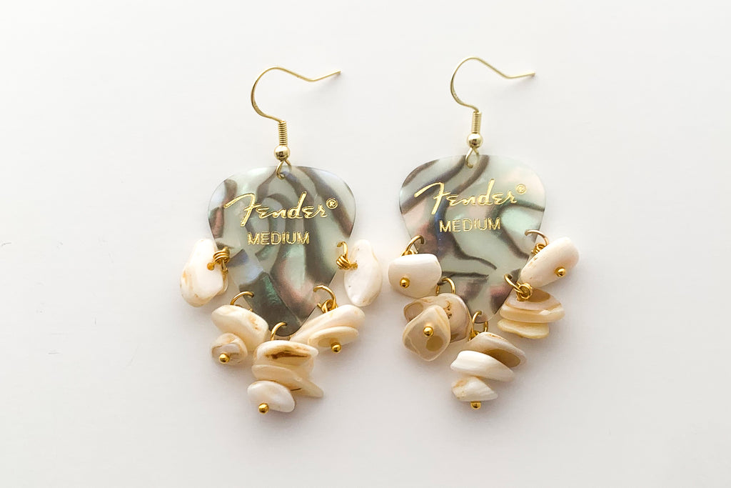 Fender Abalone Mother of Pearl White Chip Earrings