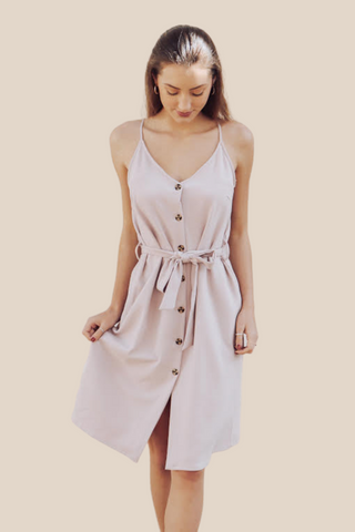 Lilac Belted Button Down Dress