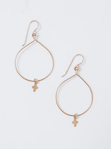 Delicate Cross Hoops