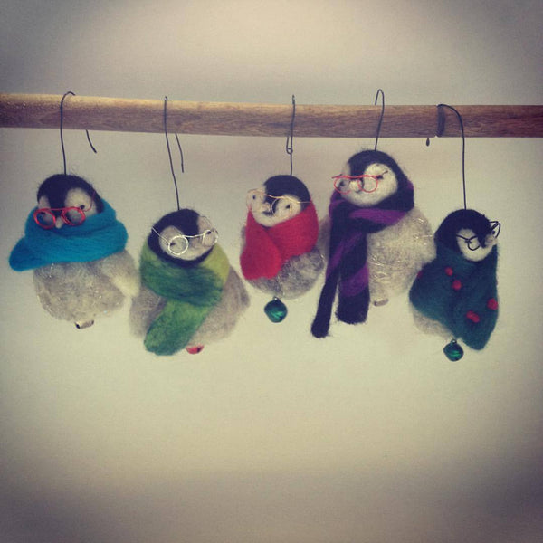 Penguin Baby Felt Christmas Ornaments Set of 5