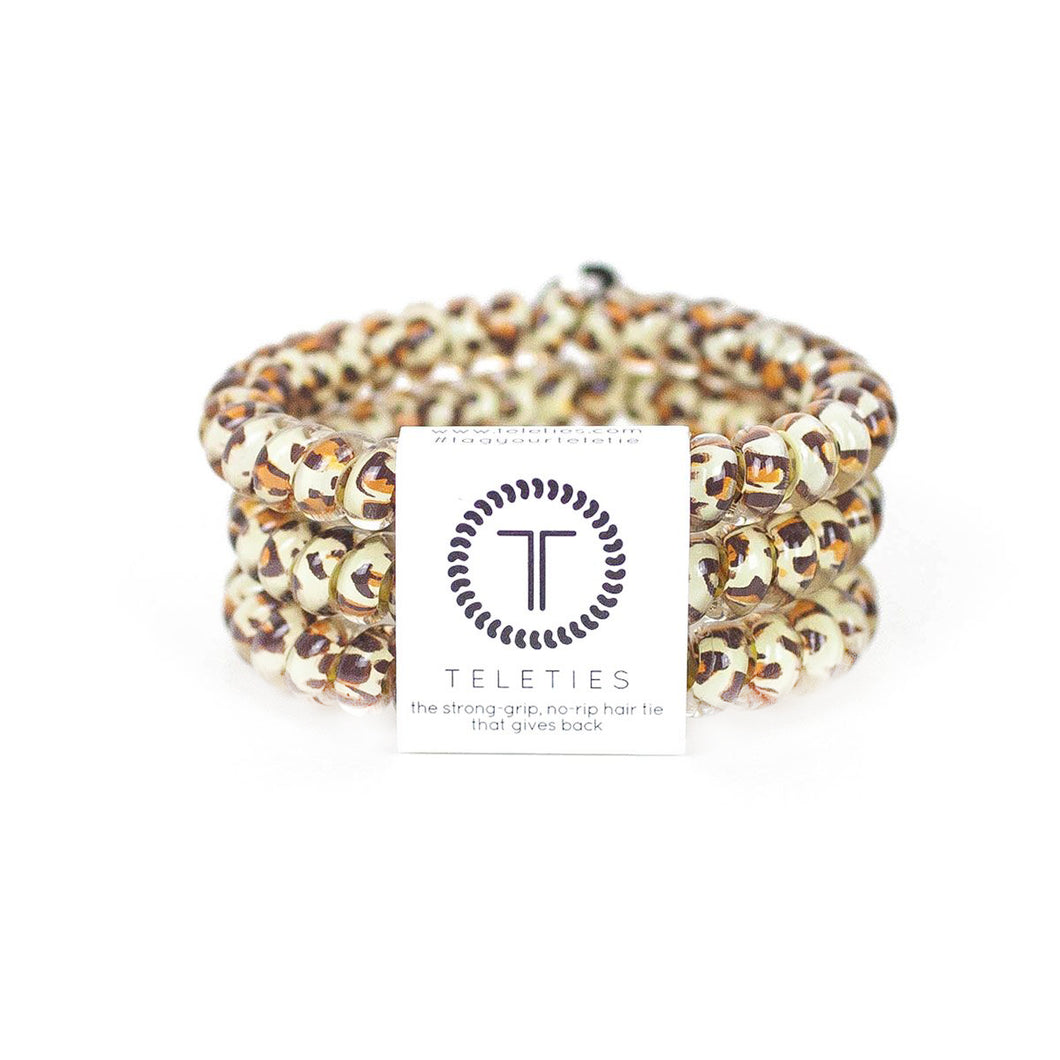 Small Teleties 3 Pack Natural Leopard Print - queen of the court