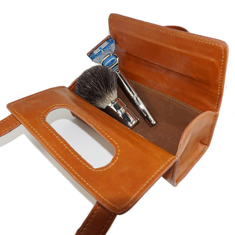 3 Colors Manual Shaving Razor Shaving Brush Travel Leather Bag