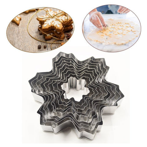 9 Pcs Stainless Steel Snowflake Fondant Cake Molds Baking Cookie Cutter Tools