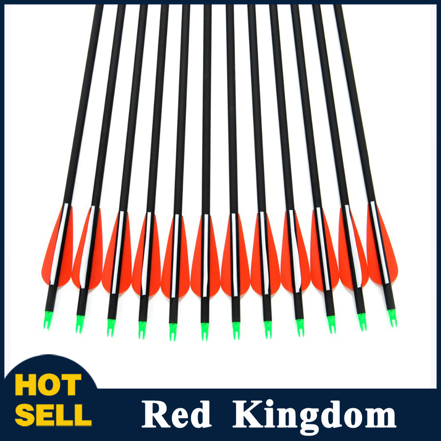 "12 Pcs 30"" Carbon Arrow Spine 500 Changeable Arrowheads For Compound Bow"