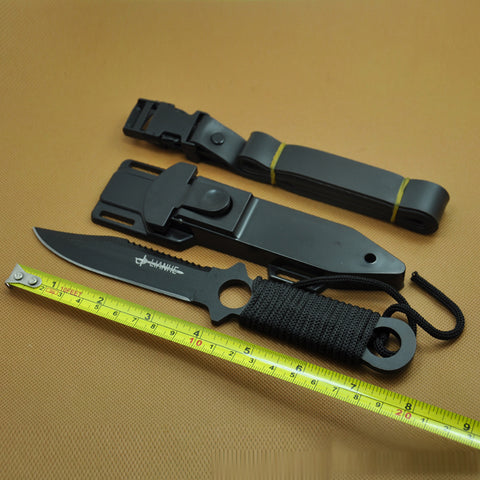 Titanium High Hardness Diving Legging Knife ABS Sheath Fixed Blade