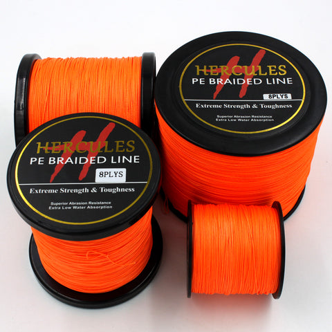 8 Strands 100M 300M 500M 1000M 1500M 2000M Orange Braided Fishing Line Sea Saltwater 100% PE
