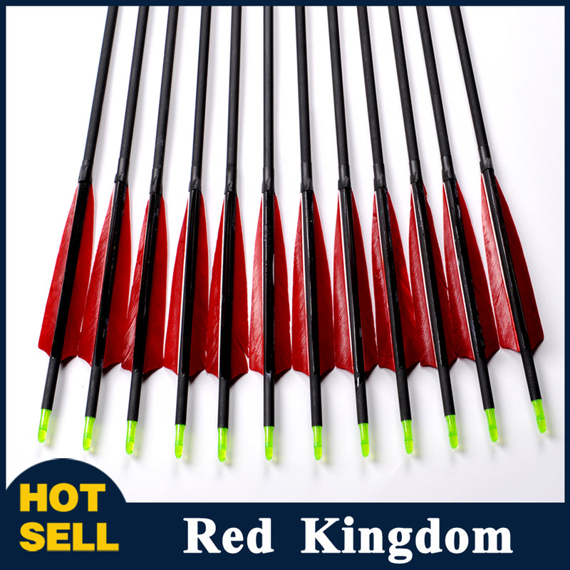 "12 Pcs 33.5"" Carbon Arrow with Turkey Feather Spine 500 For Recurve Bow"
