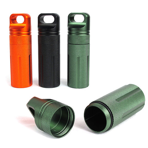 Waterproof Airtight Life Capsule Seal Bottle Match Pill Storage Case Container EDC Survive Dry Box