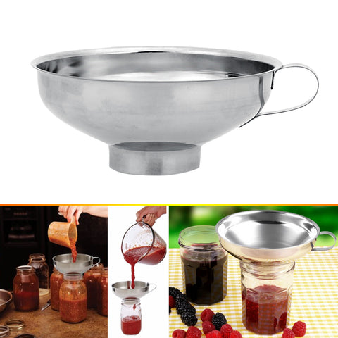 Stainless Steel Wide Mouth Canning Funnel Hopper Filter