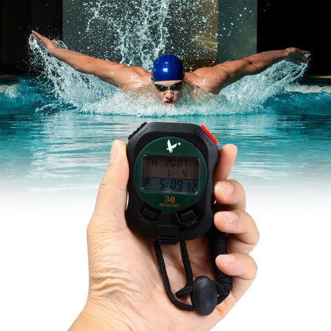 3 Rows LCD Electronic Handheld Stopwatch 30 Memories Sports Timer With Alarm Calendar