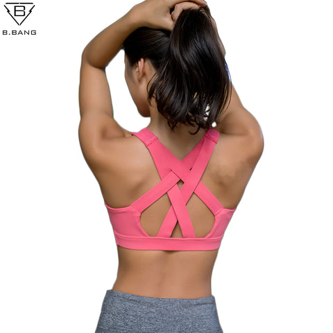 Women Yoga Running Sports Bra Shockproof High Support Workout Bra