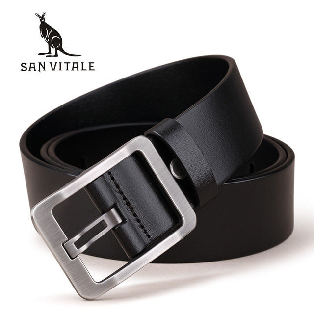 100% Cowhide Genuine Leather Belts for Men Brand Strap Male Pin Buckle