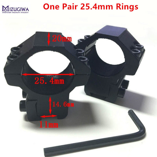 1 Pair 30mm/25.4mm Scope Mount Ring Weaver 11mm / 20mm