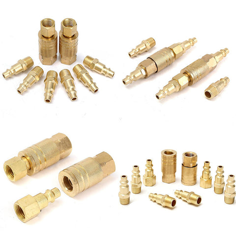 "10 Pcs Brass Quick Release Coupler Set 1/4"" Air Hose Connector For Fitting NPT Connectors"