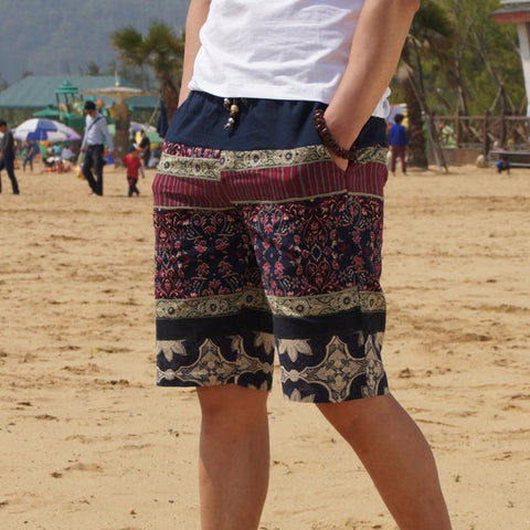 Men's Beach Shorts Fashion Stitching Loose Linen Shorts Size 4XL 5XL