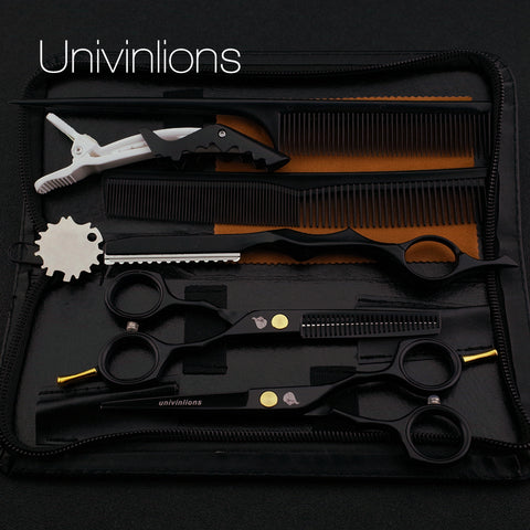 "5.5"" Black Hair Cut Scissors Razor Set"