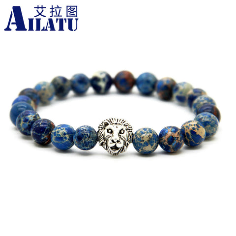 Men's Silver Color Lion Head Bracelets Made with 8mm Blue Sea Sediment Stone Beads