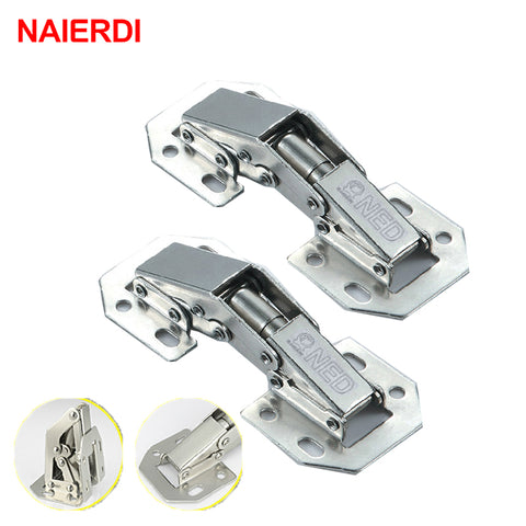 10 Pcs 90 Degree 3 Inch No-Drilling Hole Cabinet Door Hinge Full Overlay