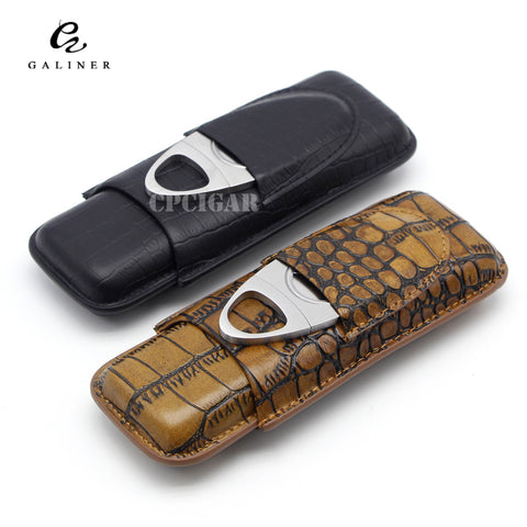 Genuine Leather Cigar Case 2 Tubes Holder With Metal Cigar Cutter