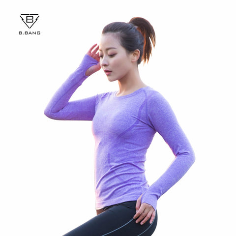 Women Yoga Gym Tights Long Sleeves Shirts Tops Dry Quick Breathable