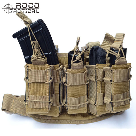 Tactical Molle Drop Leg Bag With Attached Magazine Pouch & Torch Holder Thigh Rig Holster